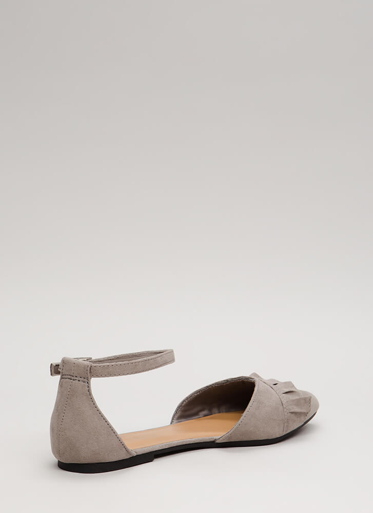 Frilly Weather Ruffled Ankle Strap Flats GREY