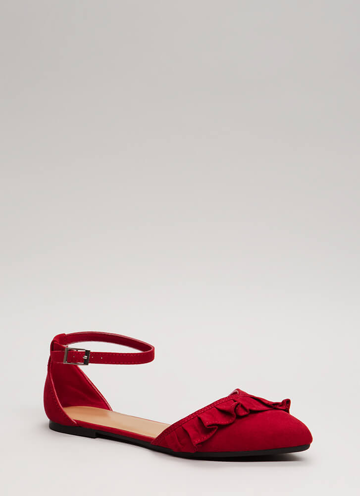 Frilly Weather Ruffled Ankle Strap Flats RED