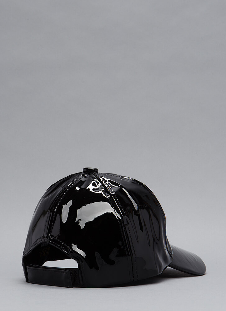 Gloss Over Faux Patent Leather Hat BLACK