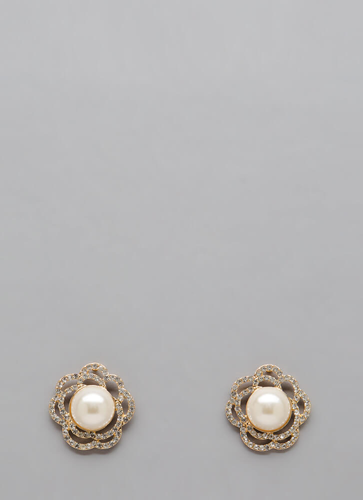 Get Flowers Jeweled Faux Pearl Earrings GOLD