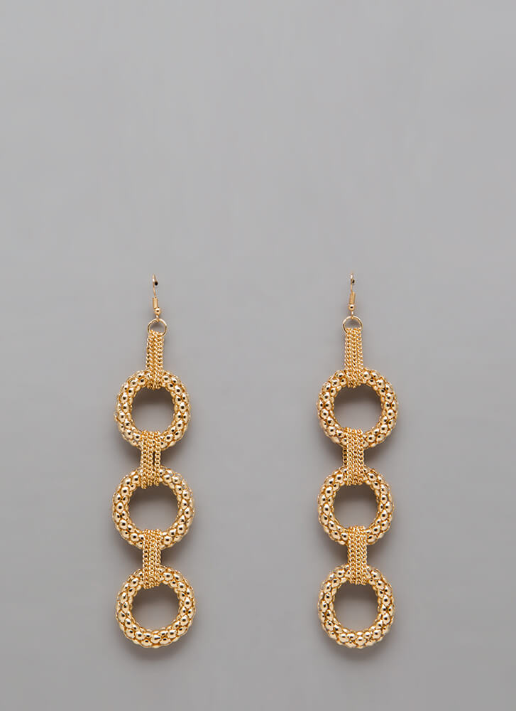 Pass The Popcorn Chained Ring Earrings GOLD