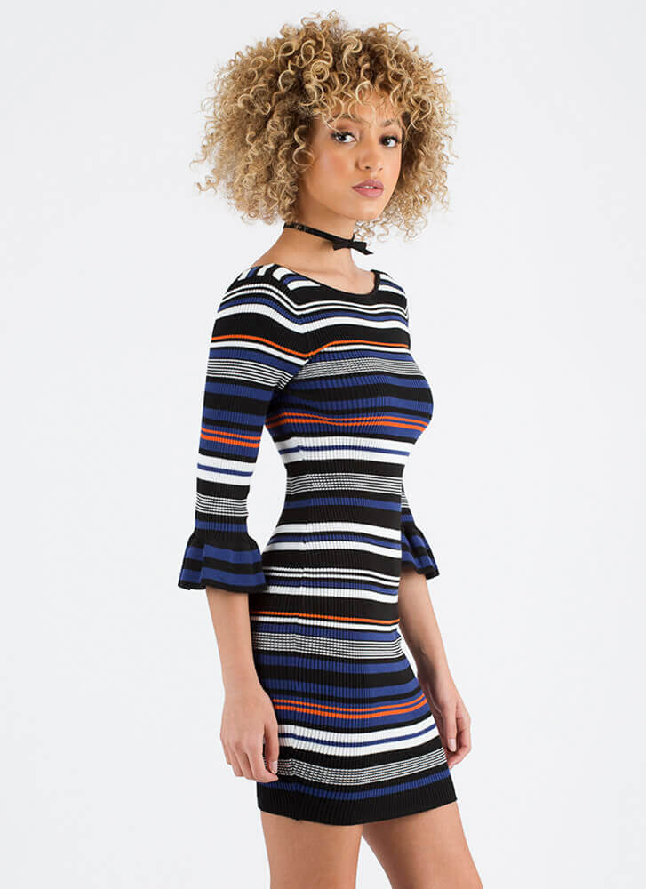 Stripe Back Up Ribbed Bell Sleeve Dress BLUEMULTI