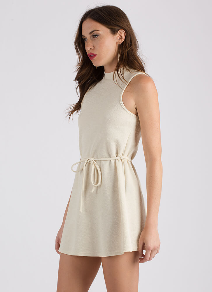 Swing Shift Belted Flared Dress IVORY