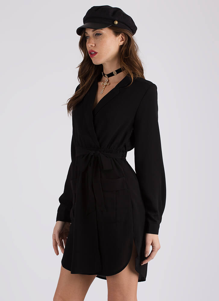 Well-Suited Belted Faux Wrap Dress BLACK