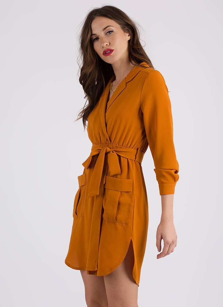 Well-Suited Belted Faux Wrap Dress RUST