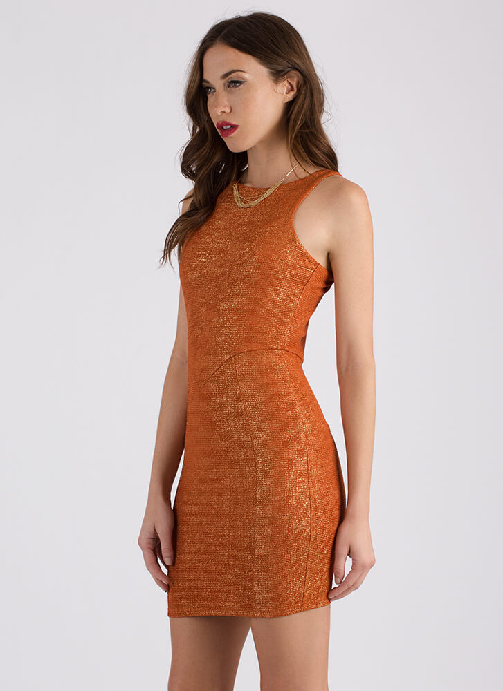 Take A Shine To You Shimmery Dress RUST