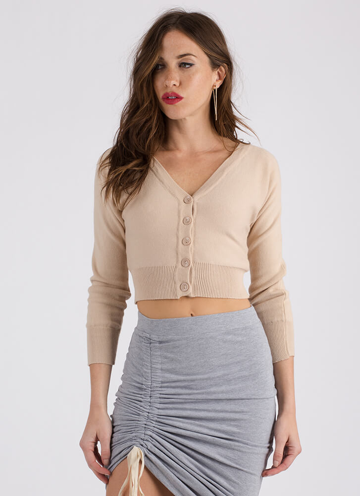 Warming Trend Cropped Knit Cardigan BEIGE