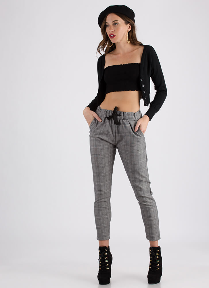 Warming Trend Cropped Knit Cardigan BLACK