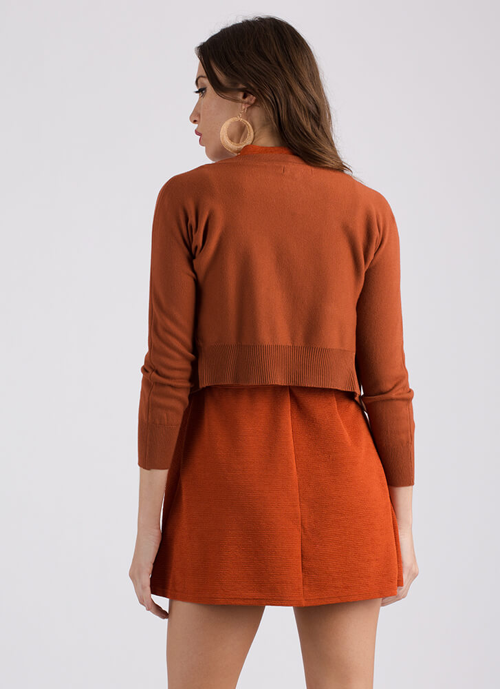 Warming Trend Cropped Knit Cardigan RUST