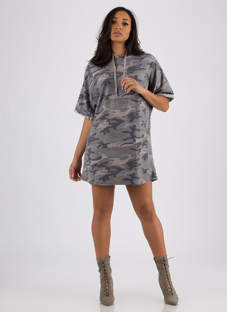 Incognito Camo Print Hoodie Dress CAMOUFLAGE (Final Sale)