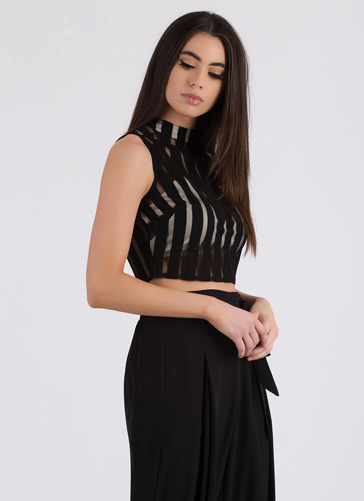 Panel Discussion Striped Mesh Crop Top BLACK