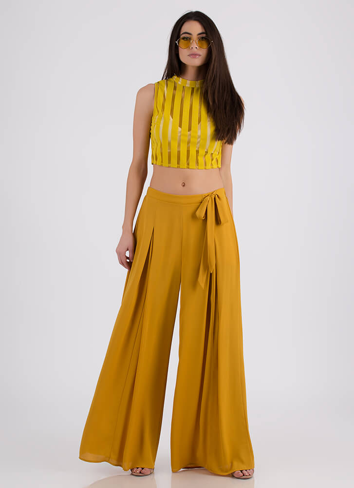 Panel Discussion Striped Mesh Crop Top MUSTARD