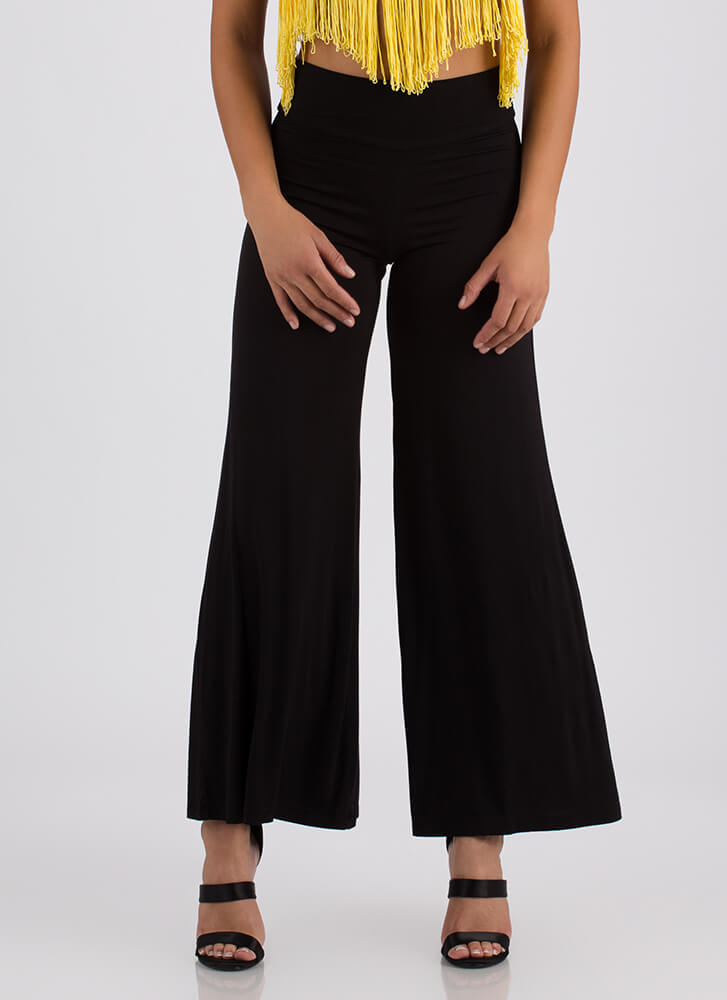 Dare To Flare Flowy Palazzo Pants BLACK