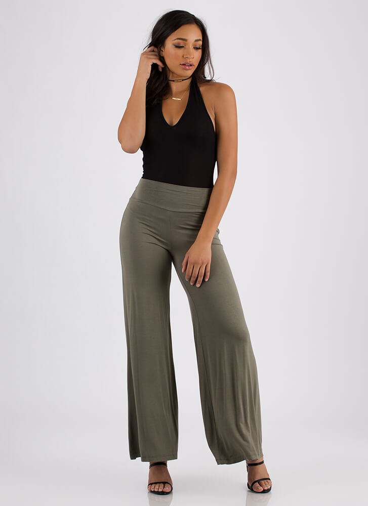 Dare To Flare Flowy Palazzo Pants OLIVE
