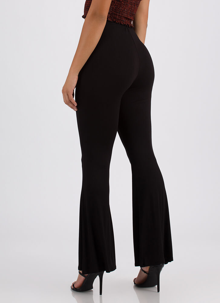 Flare Weather Bell-Bottom Pants BLACK