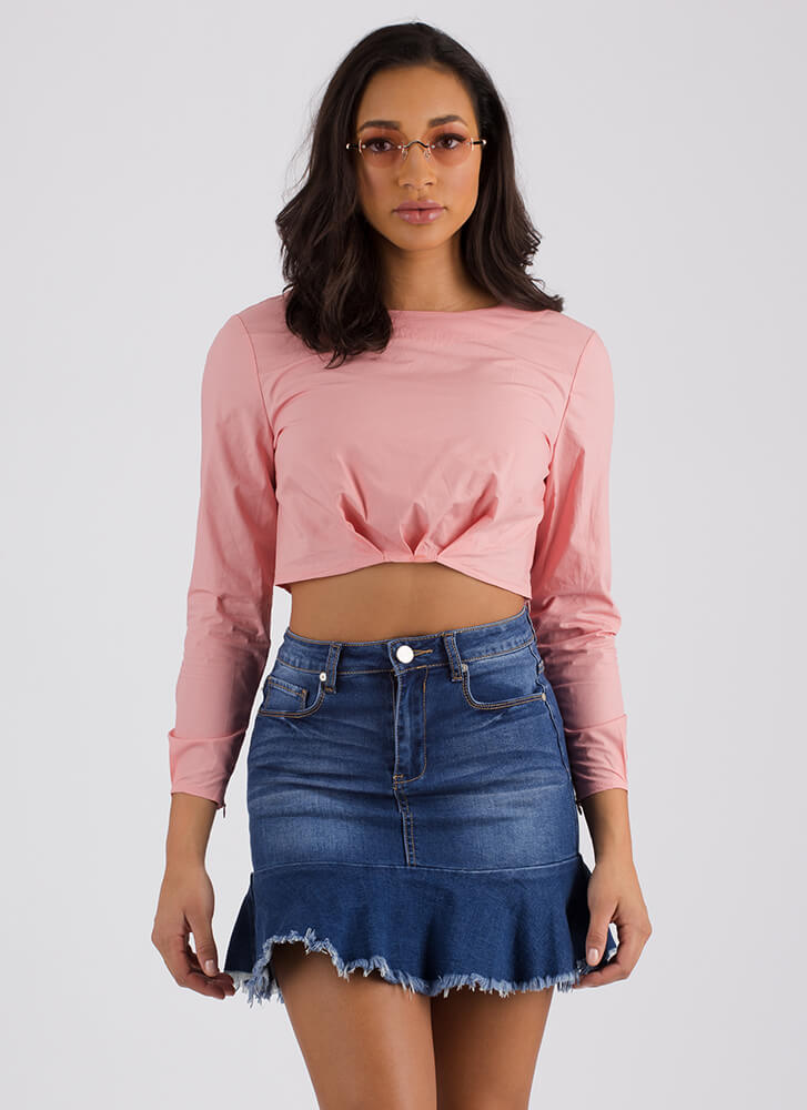 Raise Me Up Puffy Pleated Crop Top PINK