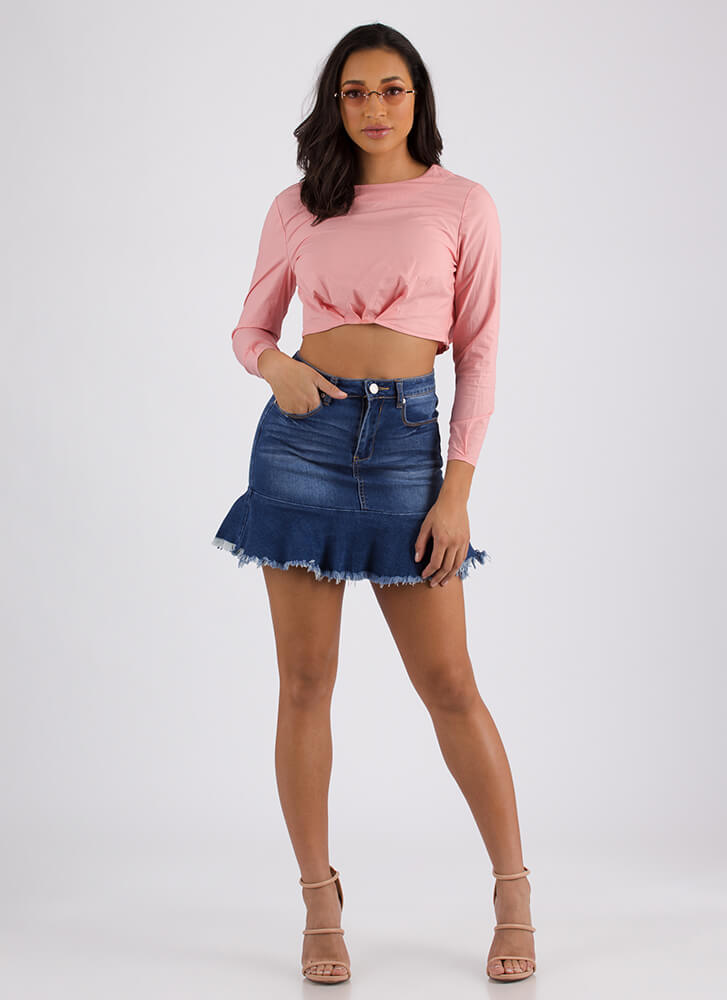 Raise Me Up Puffy Pleated Crop Top PINK (Final Sale)