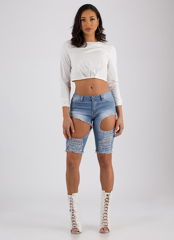 Raise Me Up Puffy Pleated Crop Top WHITE (Final Sale)