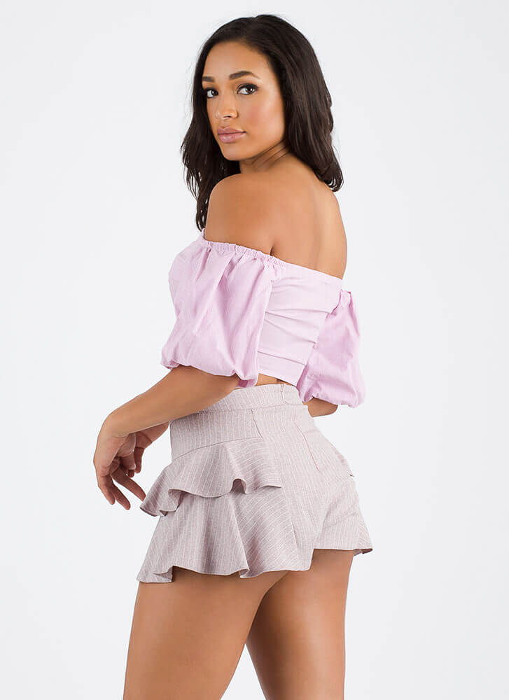 Flare Warning Ruffled Pinstriped Shorts BLUSH