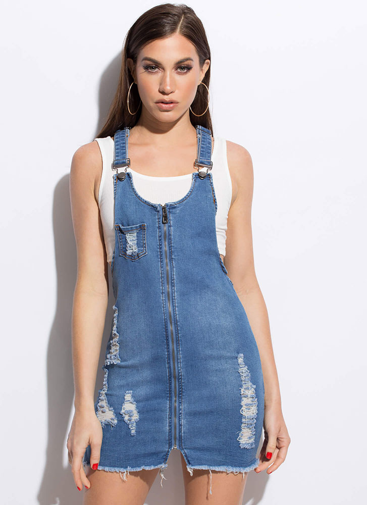 Play Date Distressed Denim Overall Dress BLUE