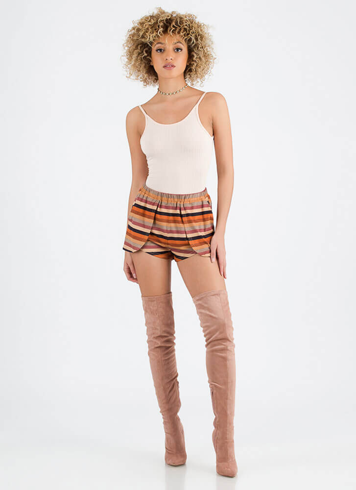 Bottom Line Striped Faux Suede Shorts MULTI