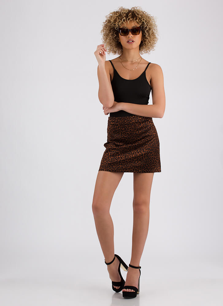 Out On The Prowl Leopard Print Miniskirt LEOPARD
