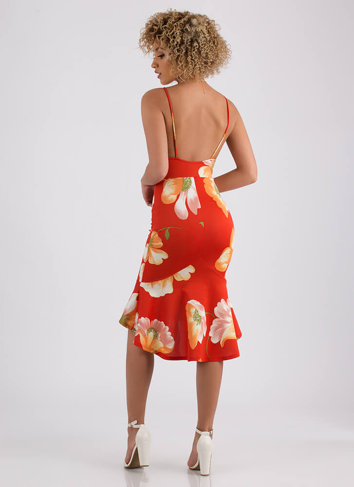 Island Vacation Ruffled Floral Dress RED