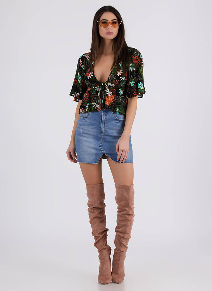 Flowers And Fronds Tied Tropical Top BLACK