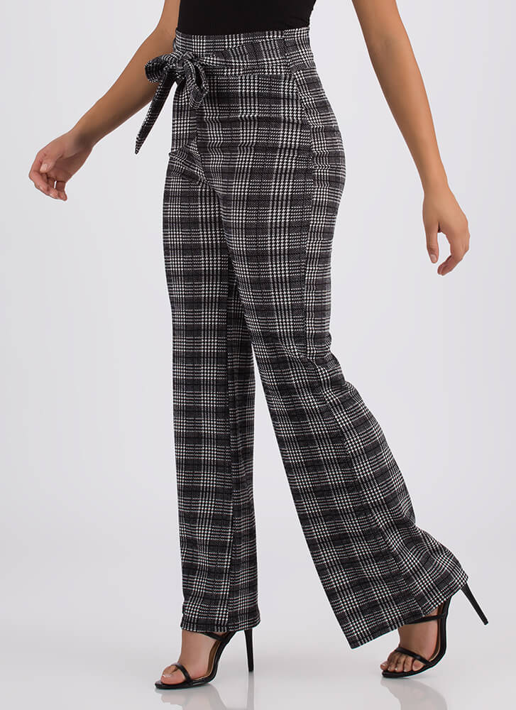 Funny Business Houndstooth Plaid Pants BLACK