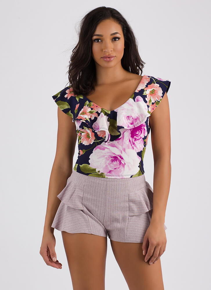 Petal Perfect Ruffled Floral Crop Top NAVY