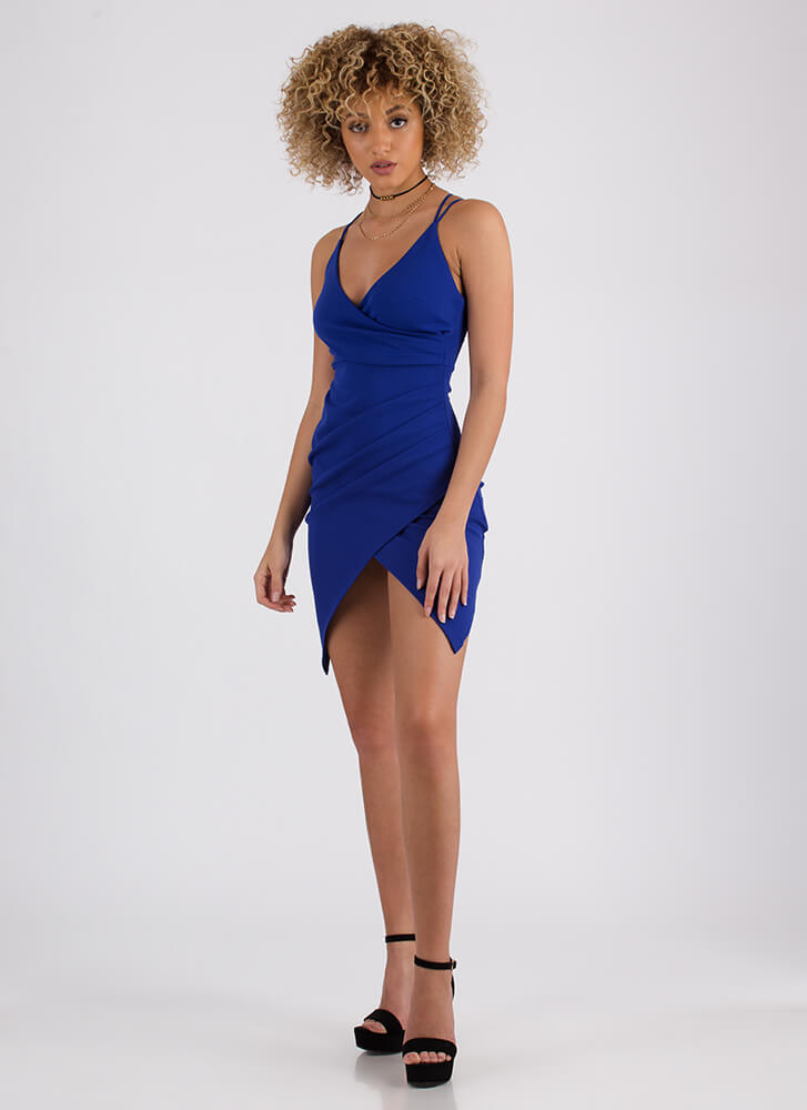 Too Wrapped Up Lace-Back Dress ROYAL (Final Sale)
