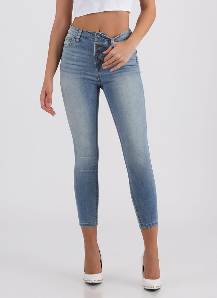 The Right Buttons Cropped Skinny Jeans BLUE