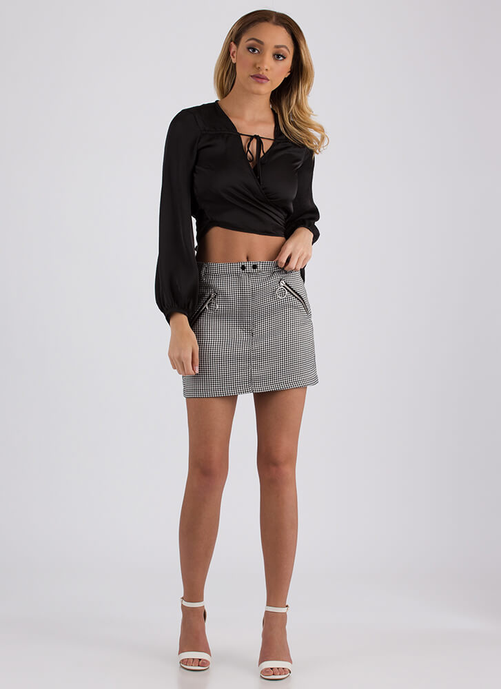 Two-Timer Wrapped Satin Crop Top BLACK (You Saved $15)