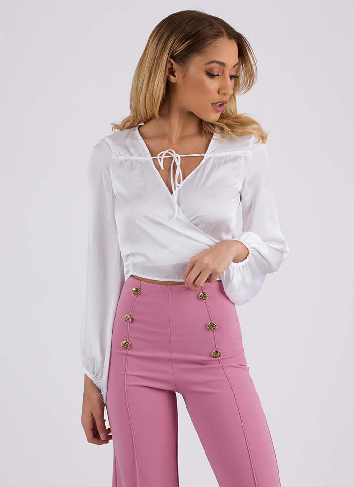 Two-Timer Wrapped Satin Crop Top WHITE (You Saved $15)