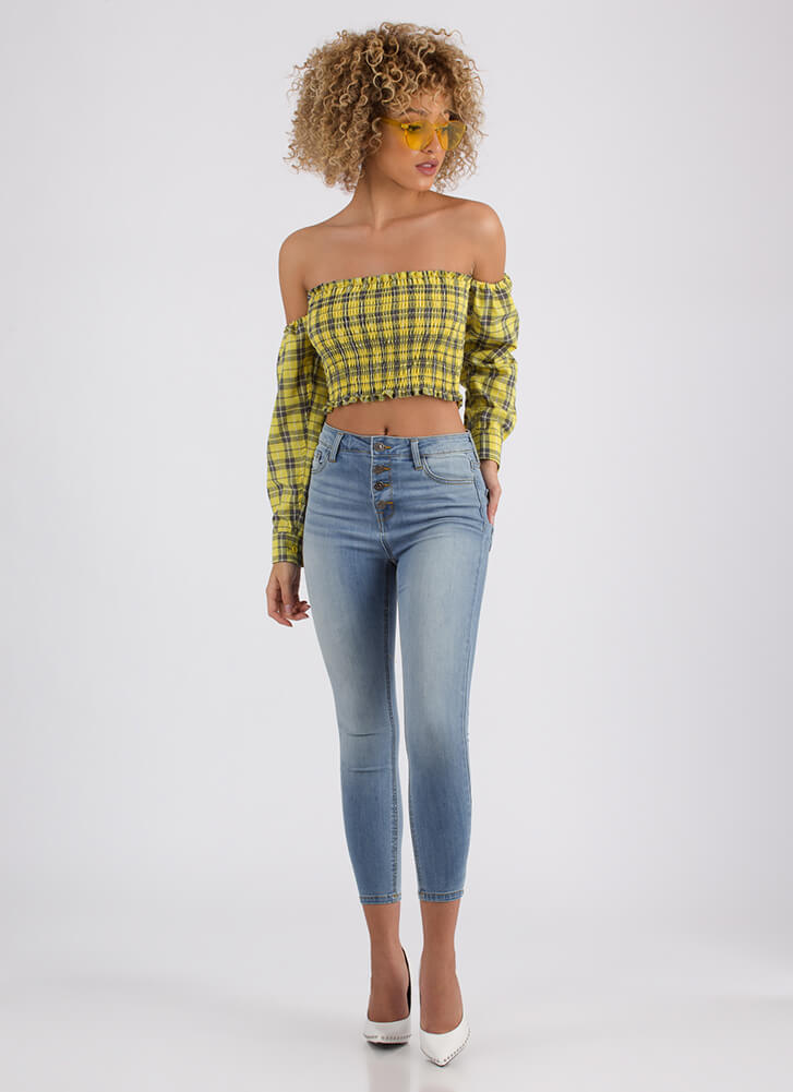 Plaid Day Off-Shoulder Crop Top YELLOW