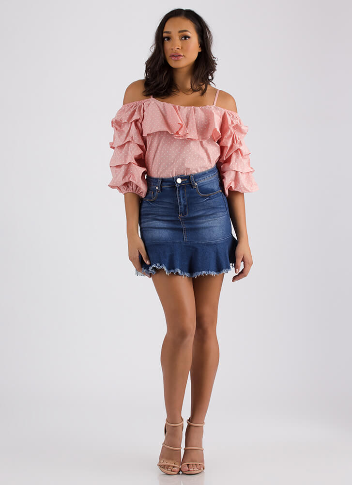 Polka Dot Party Ruffled Puffy Sleeve Top BLUSH (Final Sale)