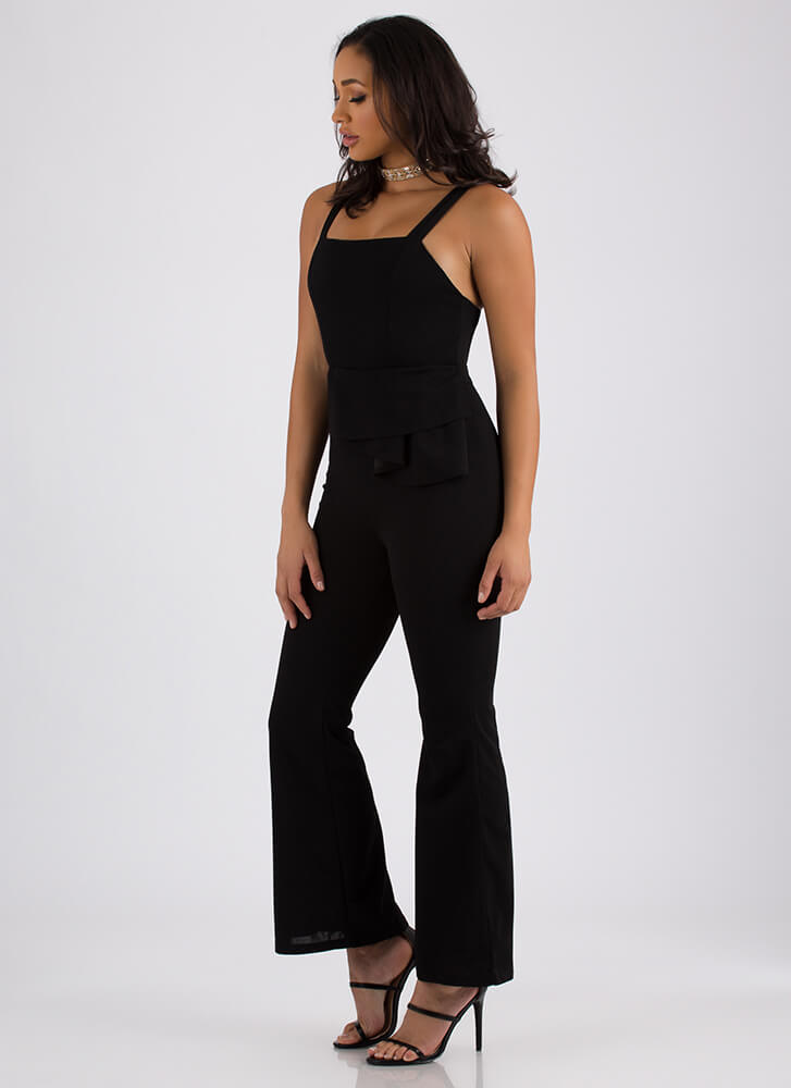 Pleated With Me Bell-Bottom Jumpsuit BLACK