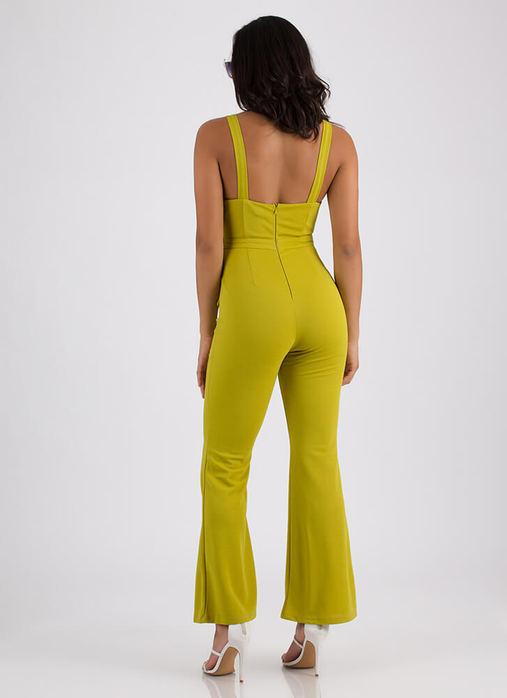 Pleated With Me Bell-Bottom Jumpsuit LIME