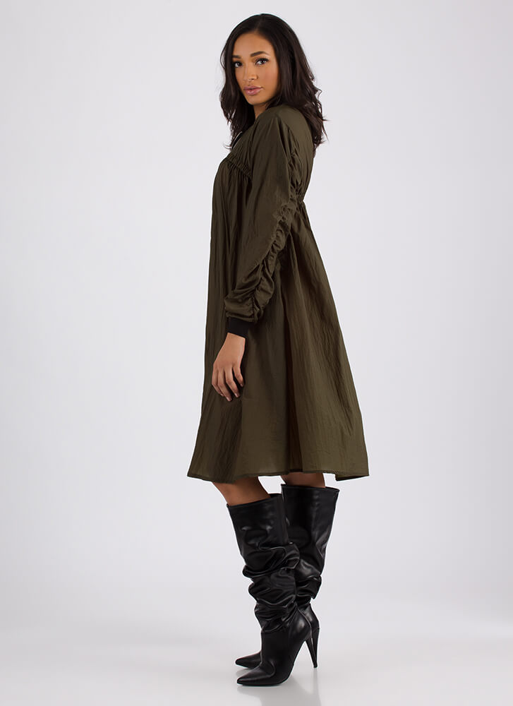 Shirr Why Not Zip-Front Jacket Dress OLIVE