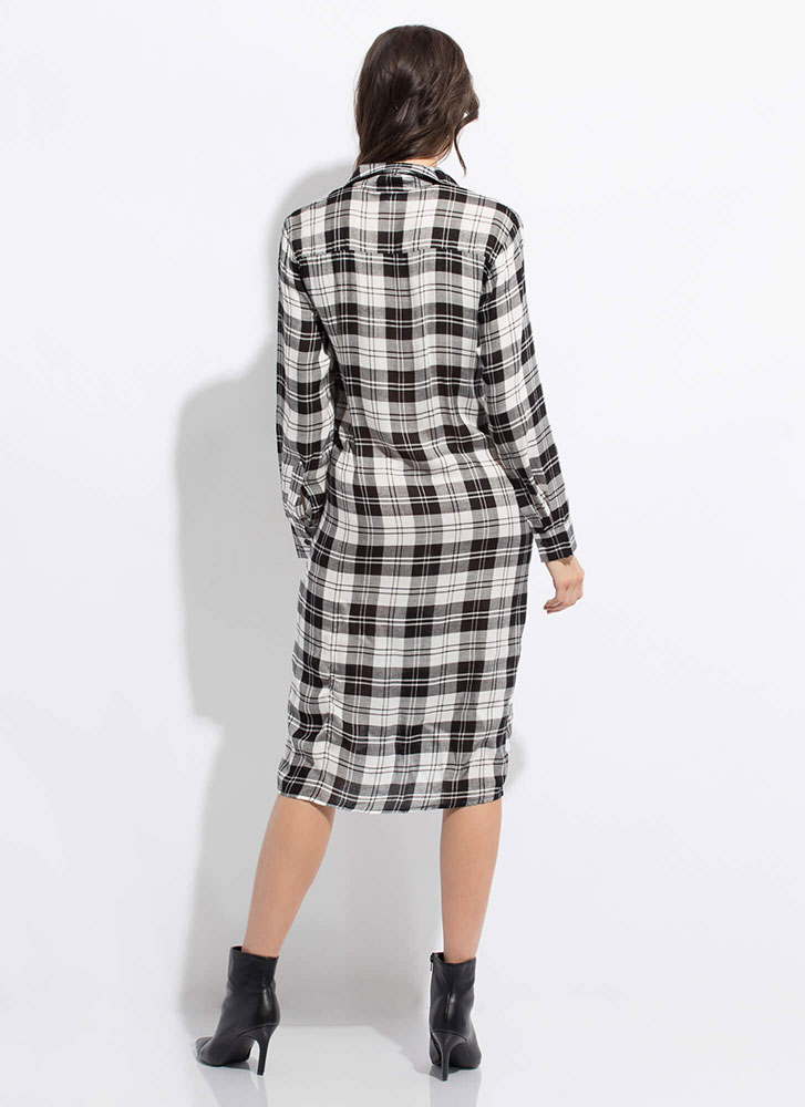Good To Be Plaid Twisted Shirt Dress WHITE