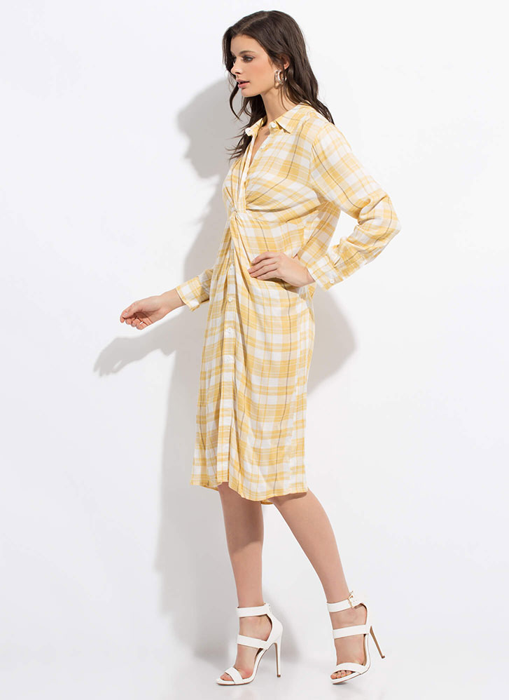 Good To Be Plaid Twisted Shirt Dress YELLOW