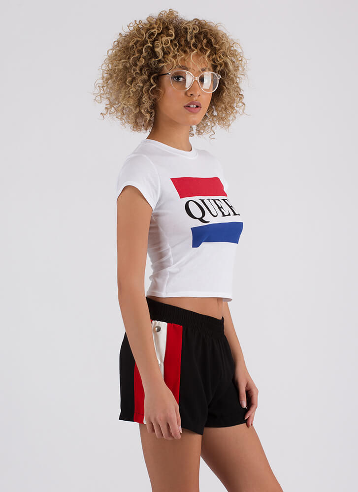 You're My Queen Cropped Graphic Tee WHITE