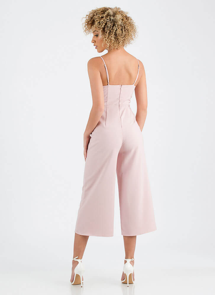 Just Vee You Cropped Wide-Leg Jumpsuit MAUVE