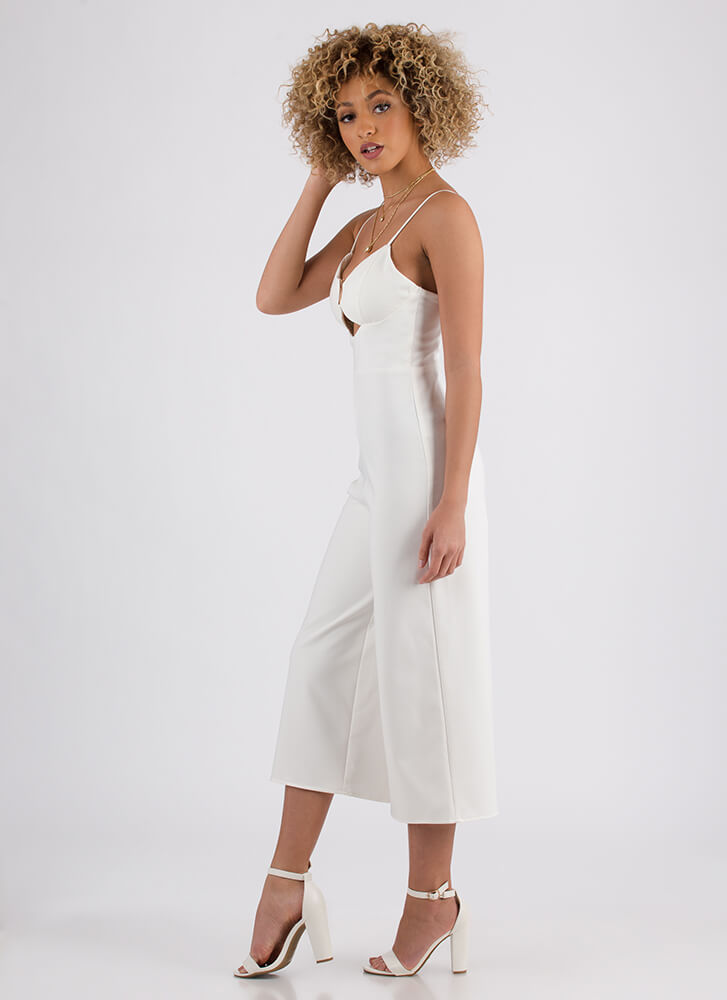 Just Vee You Cropped Wide-Leg Jumpsuit WHITE