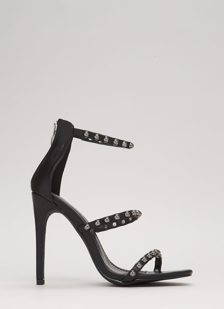 You're Golden Studded Faux Leather Heels BLACK