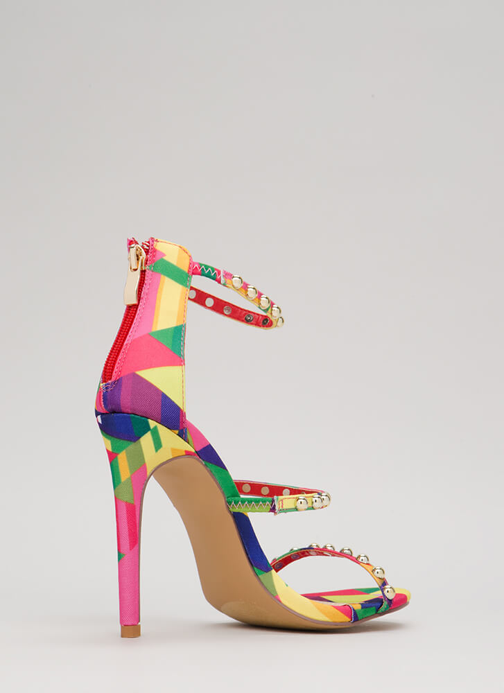 You're Golden Studded Rainbow Heels MULTI
