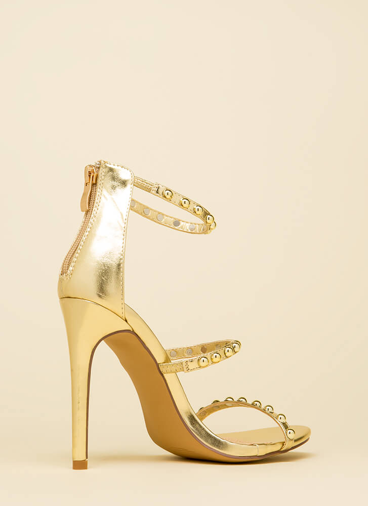 You're Golden Studded Metallic Heels GOLD