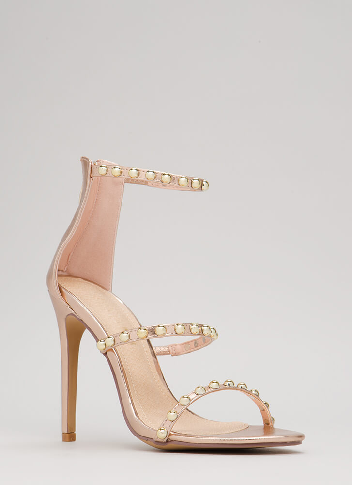 You're Golden Studded Metallic Heels ROSEGOLD