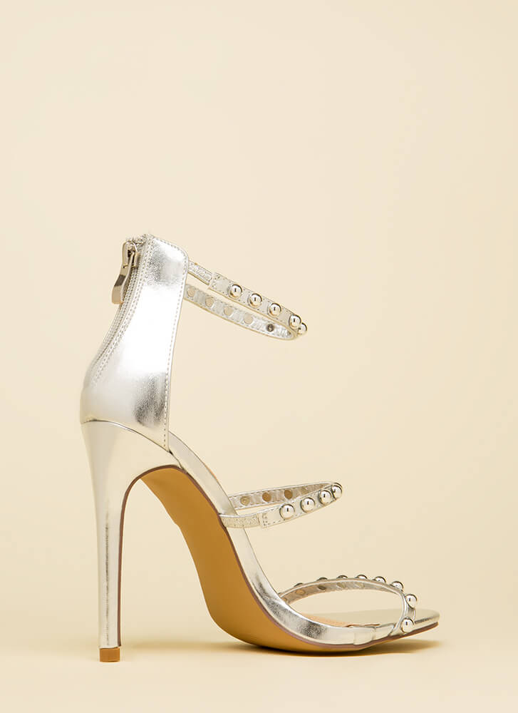 You're Golden Studded Metallic Heels SILVER