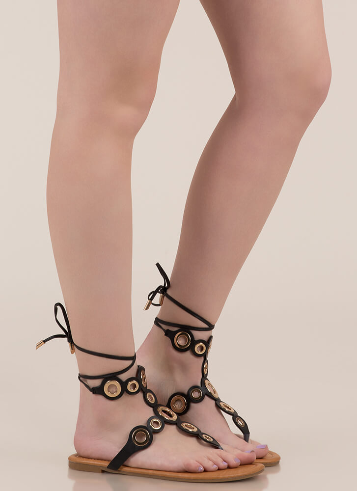 Well-Rounded Cut-Out Lace-Up Sandals BLACK